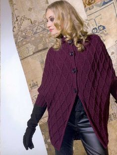 New Knitting Poncho Libraries 67 Ideas Knit Cardigan Pattern, Poncho Knitting Patterns, Knitting Blogs, Knitted Poncho, Lace Knitting, Knitting Designs, Knit Patterns, Knit Fashion, Sweater Fashion