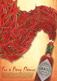 BibiYanNi - Design World: Weekly Task 6 - Hot Sauce Advertising Ads Creative, Creative Advertising, Advertising Design, Advertising Ideas, Advertising Campaign, Food Poster Design, Ad Design, Tabasco Hot Sauce, Funny Advertising