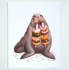 8x10 Donut and Walrus Art Print Walrus Wall by MudsplashStudios