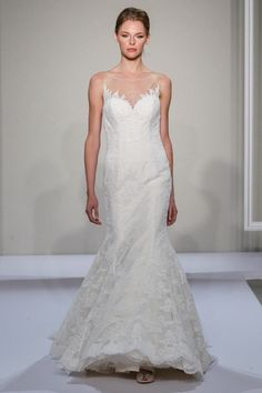 Illusion Mermaid Wedding Dress  with No Waist/Princess Seams in Alencon Lace. Bridal Gown Style Number:33260910