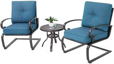 Amazing offer on Oakmont Outdoor Bistro Set Spring Metal Lounge Cushioned Chairs Bistro Table Set Wrought Iron Cafe Furniture Seat,Peacock Blue online - Gotopratedseller Bistro Table Set, 3 Piece Bistro Set, Bistro Chairs, Cafe Furniture, Outdoor Furniture Sets, Furniture Sale, Dyi, Blue Patio, Patio Loveseat