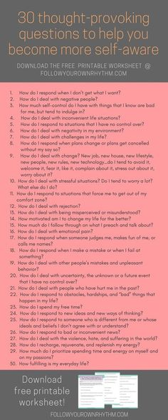 If you are looking to improve your life and become more self-aware, then let these 30 thought-provoking questions guide you to see how you respond to certain life situations, so that you can figure out what works and what doesn't, and make positive change Self Development, Personal Development, Leadership Development, Journal Prompts, Journal Entries, Self Improvement, Self Help, Self Care, Inspirational Quotes