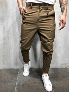 Men Casual Short Roll Up Keychain Trousers Pants - Brown 3815 Estilo Fashion, Fashion Wear, Mens Fashion, Ankle Pants, Trouser Pants, Casual Shorts, Casual Outfits, Men Casual, Timberland Boots Outfit