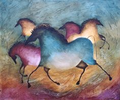 Southwestern Paintings, Buffalo Art, Cave Drawings, Prehistoric Age, Cave Painting, Mediums Of Art, Painted Pony, Gourd Art, Horse Art