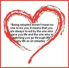 Perspective of a person who was adopted, about who loves her.