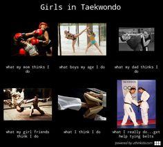 Girls in taekwondo, What people think I do, What I really do meme image - uthinkido.com
