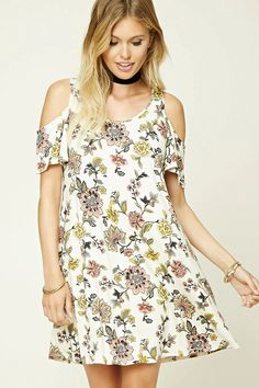 Forever 21 Contemporary - A stretch-knit swing dress featuring an allover floral print, open-shoulder design, short sleeves, and a round neckline.