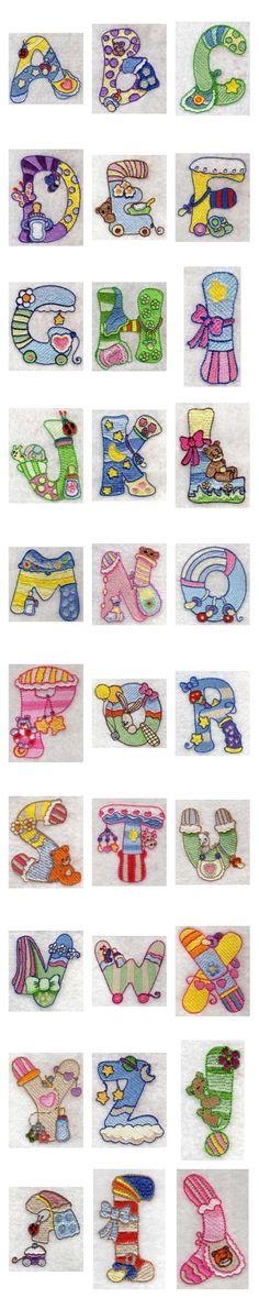 Baby Alphabet Embroidery Machine Design Details