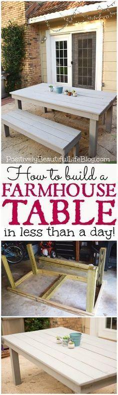 Easy DIY Farmhouse Table. Blue prints for benches. #furnitureplans