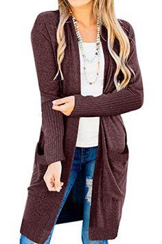 Best Seller For G PL Women s Open Front Knit Cardigan Sweater Pocket online 1b79408b2