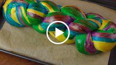 Rainbow Challah Bread.
