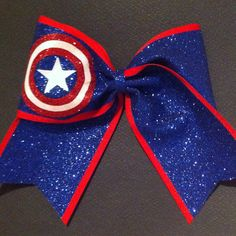 3in. Glitter Captain America Superhero Cheer Bow by BowsByTeri