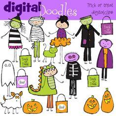 INSTANT DOWNLOAD Trick Or Treat Kids Digital Clip door kpmdoodles, $3.65