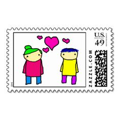 Cartoon Boy and Girl Love Stamp