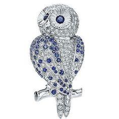 Tiffany & Co. Diamond Sapphire Owl Brooch Pin