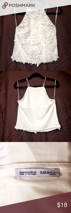 New Zara Lace Halter Top Zara white lace halter crop top. Has never been worn before and is in excellent condition. It is a size medium. Zara Tops Tank Tops