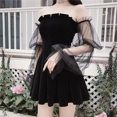 Gothic Off Shoulder Lantern Mesh Sleeve Mini Dress Kpop Fashion Outfits, Edgy Outfits, Korean Outfits, Grunge Outfits, Cute Casual Outfits, Pretty Outfits, Pretty Dresses, Girl Outfits, Fashion Shirts