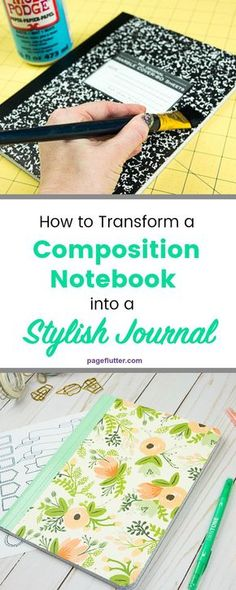 VISIT FOR MORE DIY journal from a boring composition notebook! This would make a cute Bullet Journal. The post DIY journal from a boring composition notebook! This would make a cute Bullet Jo appeared first on Diy. Composition Notebook Covers, Altered Composition Books, Altered Books, Journal Covers, Journal Pages, Journal Art, Journal Notebook, Diy Journal Cover Ideas, Journal Ideas
