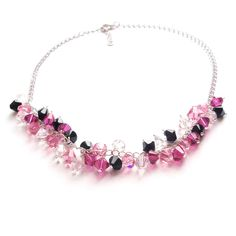 £48 ThisMirabella necklace is perfect for the House of Colour winter palette,hung from a silver coloured chunky chain with fuchsia pink, jet  black, rose pink and clear Swarovski crystals.  Any colour from the winter Swarovski palette (see below) can be chosen for  this necklace, or a combination of up to four colours. Simply choose from  the list displayed when when you 'Add to cart'.  The necklace is approximately 45cm (18'') long plus a short extension  chain.  'Mirabella' means 'Of…