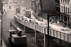 Rush-hour traffic using the Camp Hill Flyover in Bordesley High Street in October 1961 Birmingham City Centre, Camp Hill, The Second City, Birmingham England, Walsall, Slums, Old Buildings, Street, Places
