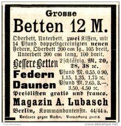 Original-Werbung/ Anzeige 1897 - BETTEN / MAGAZIN LUBASCH - BERLIN - ca. 45 x 50 mm