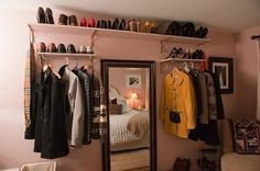 The how to: conquering a tiny closet - love this open closet as decor in a small room!