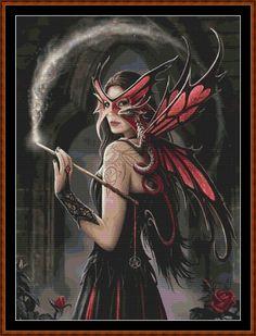 dragon and fairy cross stitch patterns   Apprentice Witch Cross Stitch [fairy witch fantasy dragon] - £1.50 ...
