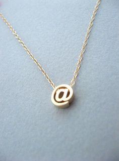 Bei Sign-Halskette zierliche Gold bei Zeichen Kette von ShebasGems