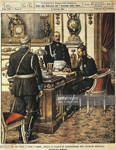 Tsar Nicholas II signing the project for institutional reforms. Illustrator Achille Beltrame (1871-1945), from La Domenica del Corriere, 8th January 1905.