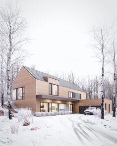 Winter retreat on Behance – Wohnen - architecture house Residential Architecture, Architecture Design, Future House, Casa Loft, Modern Barn House, Design Exterior, Modern Farmhouse Exterior, Dream House Exterior, Winter House