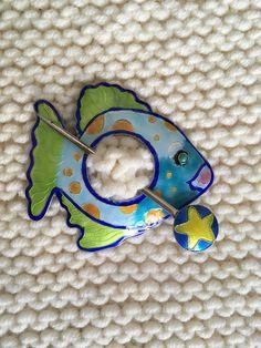 Gita Maria Enamel Fish Shawl Pin  Scarf or Sweater Pin