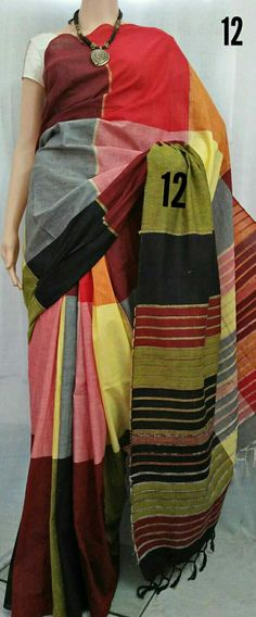 Pure cotton handloom 3D khes Saree with BP