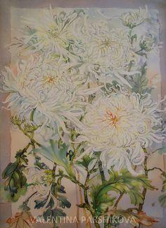 Хризантемы. горячий батик. заказ. бязь, акрил. | by Valentina Parshikova