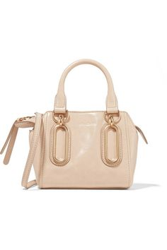 Beige glossed-leather (Cow) Zip fastening along top Weighs approximately 1.1lbs/ 0.5kg