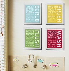 Kid's Bathroom - My kids need all of these reminders - hmmmmmmmmm - a new bath design and I am def. on the hunt for it.....