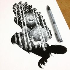 Illustrator and graphic designer Thiago Bianchini reveals a deep reverence for the mystical majesty of the animal kingdom in thousands of intricate ink markings. Inspired by double exposure Abstract Drawings, Easy Drawings, Animal Drawings, Pen Drawings, Abstract Paintings, Art Scratchboard, Stippling Art, Double Exposition, Geniale Tattoos