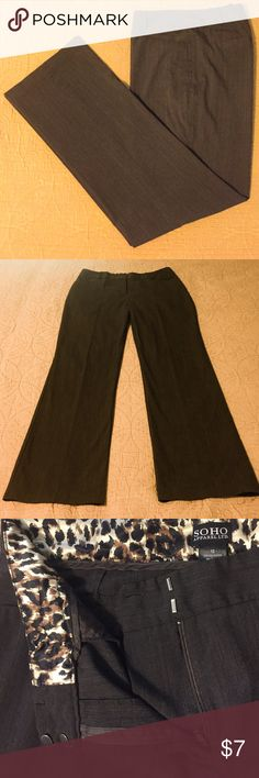 """Dark Brown Dress Pants Dark brown SOHO dress pants with animal print inside waist band.  17"""" across at waist, 31"""" inseam.  Leg openings are 9"""" across (straight leg).  Pic 3 is truest to actual color.  Zipper, button, 2 clasp close (missing button).  2 front pockets, faux back pockets, belt loops.  No tears or stains. SOHO Pants Trousers"""