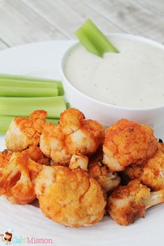 Healthy Buffalo Cauliflower Bites. I do not add butter, and I have found a dry blue cheese dressing packet by Kraft that I mix with plain greek yogurt to save calories and fat instead of the sour cream/mayo.