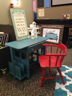 Teal Colored Desk With Red Chair