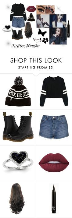"""Kristen hancher"" by loliewst ❤ liked on Polyvore featuring Dr. Martens, Topshop, Kevin Jewelers and Lime Crime"
