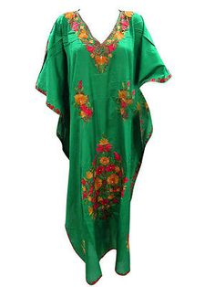 Green Silk Caftan Maxi Dress Embroidered Kaftan in Clothing, Shoes & Accessories, Women's Clothing, Intimates & Sleep | eBay