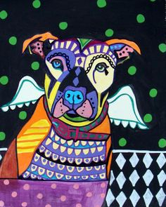 Off - Pit bull Angel - Pitbull Dog Art Art Print Poster by Heather Galler by Heather Galler Coaster Art, Ceramic Angels, Pit Bull Love, Modern Art Prints, Tile Art, Dog Art, Memes, Pitbulls, Poster Prints