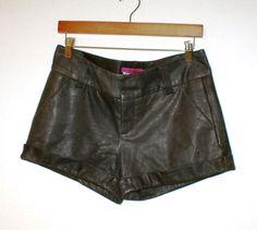 Alice + Olivia Leather Cuffed Shorts Cuffed Pockets Brown SOFT dress Shorts SZ 2  | eBay