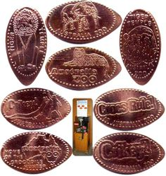 AMUSEMENT PARKS PENNIES // ZOO LOT OF 100 ELONGATED PRESSED CENTS 3 PLACES