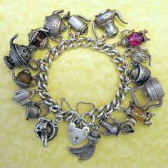 Vintage Silver Tea Pot Charm Bracelet Risque Surprise Coffee Tea or Me Nuvo Chim in Jewelry & Watches, Vintage & Antique Jewelry, Fine, Charms & Charm Bracelets Vintage Charm Bracelet, Charm Jewelry, Fine Jewelry, Charm Bracelets, Pandora Bracelets, Turquoise Jewelry, Silver Jewelry, Silver Pendants, Silver Rings
