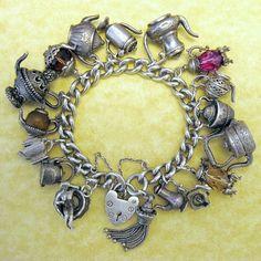 Vintage Silver Tea Pot Charm Bracelet Coffee Tea or Me Nuvo Chim Risque Surprise | eBay