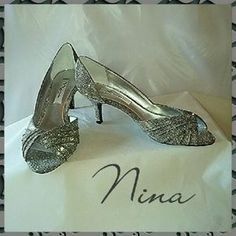 "SOLD from my closet on Poshmark. Nina ""Carrie"" Steel Shine Pumps SZ 8M NWOT. Check it out! Price: $15 Size: 8.5"