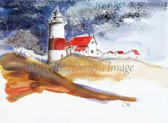 Taken from my original pen and watercolor painting, this lighthouse braces for an oncoming storm. The sky is ominous, yet this architectural guardian of ships at sea stands firm.  http://www.zibbet.com/MoxyFoxDesigns/artwork?artworkId=785211