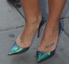 """Demi Lovato Promotes """"Confident"""" Album in Christian Louboutin """"Iriza"""" Iridescent Pumps in London"""