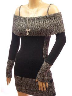 Patty Women Comfy Strappy Long Sleeve Jumper Knit Mini Dress $44.98 #bestseller